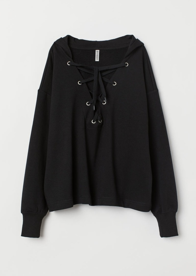 H&M H & M - Hoodie with Lacing - Black