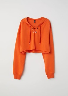 H&M H & M - Hooded Sweatshirt with Lacing - Orange