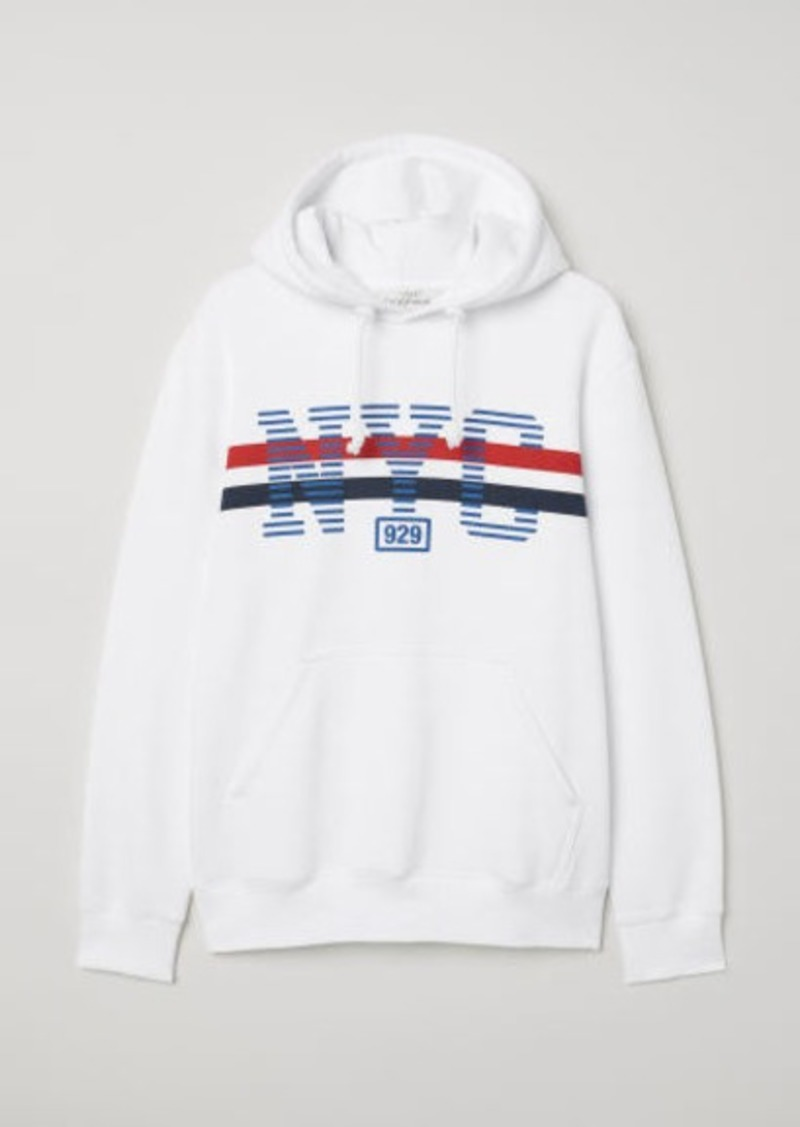 857d08dc2 H&M H & M - Hooded Sweatshirt with Motif - White   Outerwear