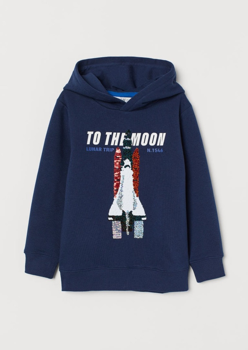 H&M H & M - Hoodie with Sequins - Blue