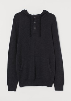H&M H & M - Hoodie with Buttons - Black