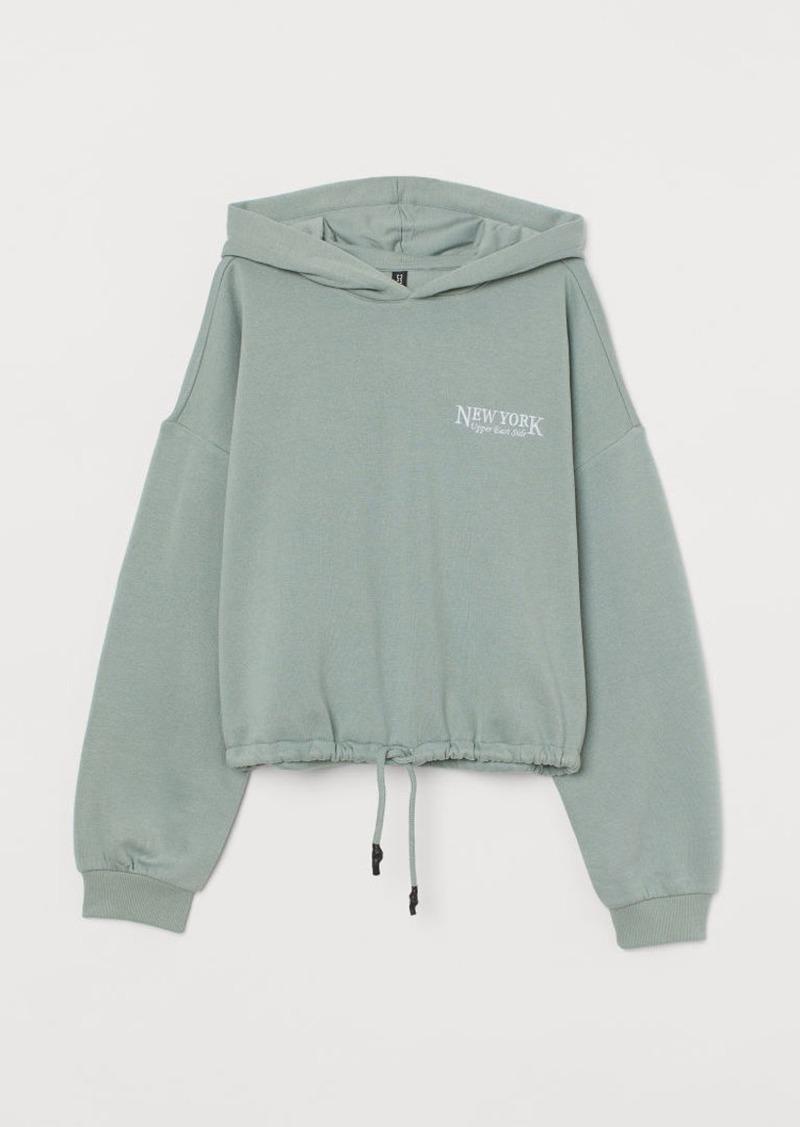 H & M - Hoodie with Drawstring Hem - Green