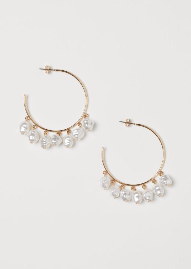 H&M H & M - Hoop Earrings - White