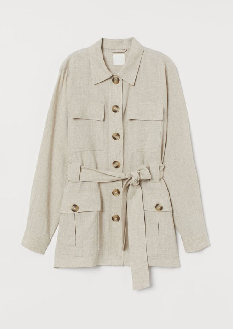 H&M H & M - Jacket with Tie Belt - Beige