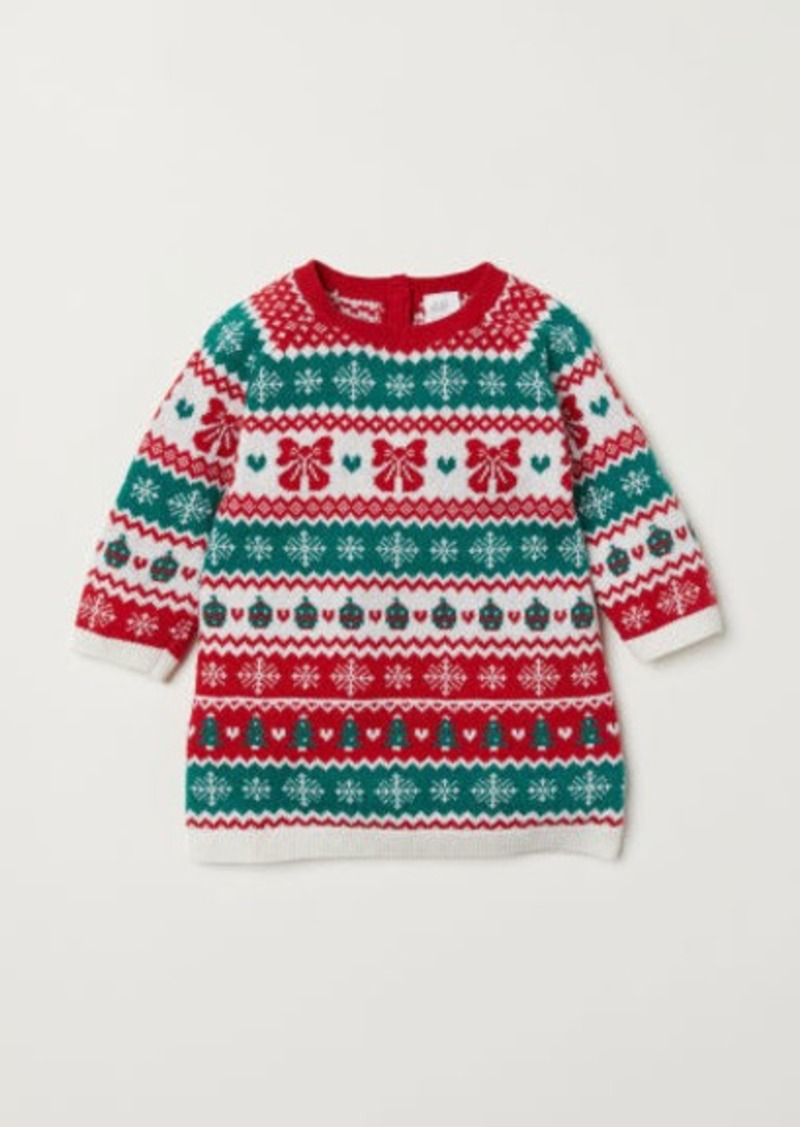 H&M H & M - Jacquard-knit Dress - Red