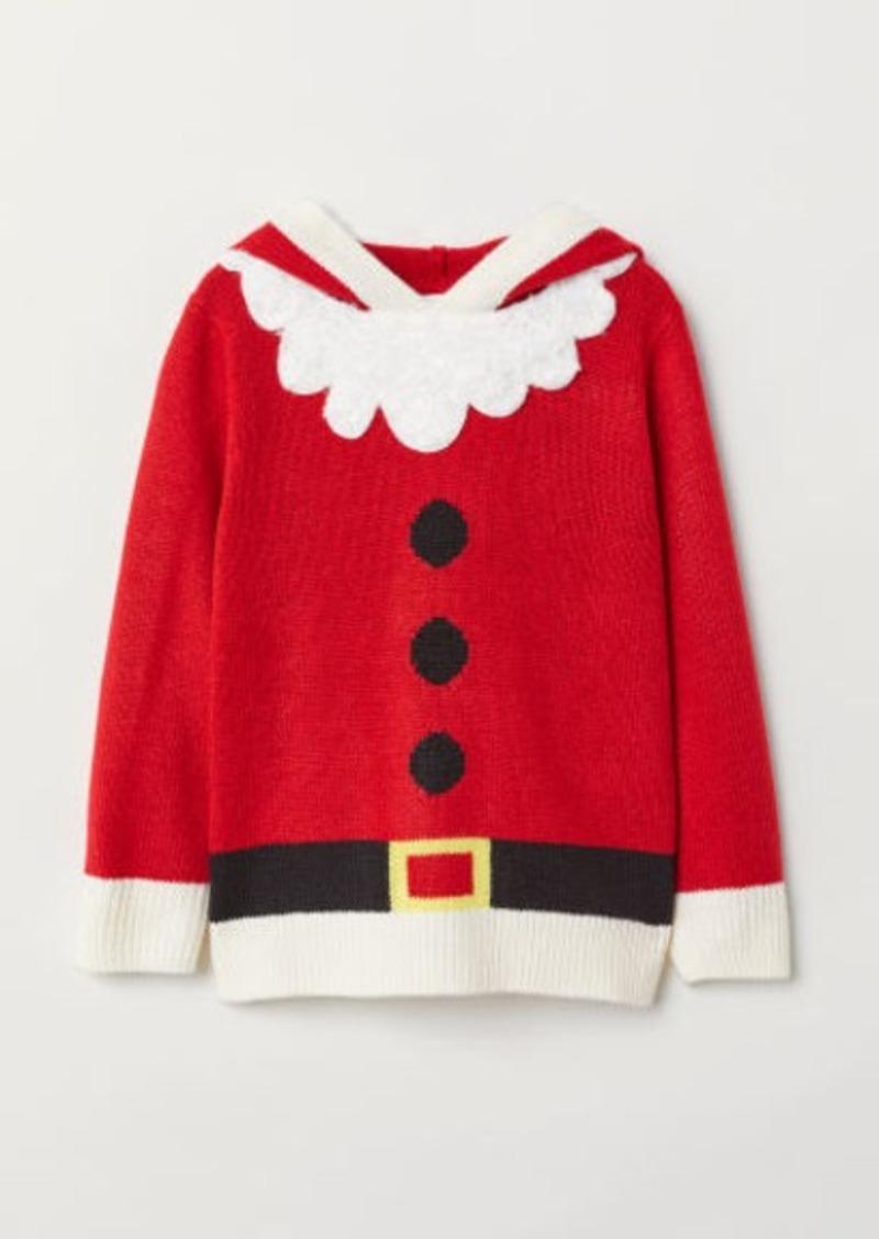 H&M H & M - Jacquard-knit Hoodie - Red