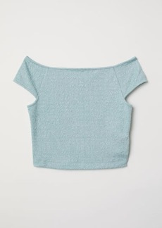 H&M H & M - Jacquard-knit Jersey Top - Turquoise