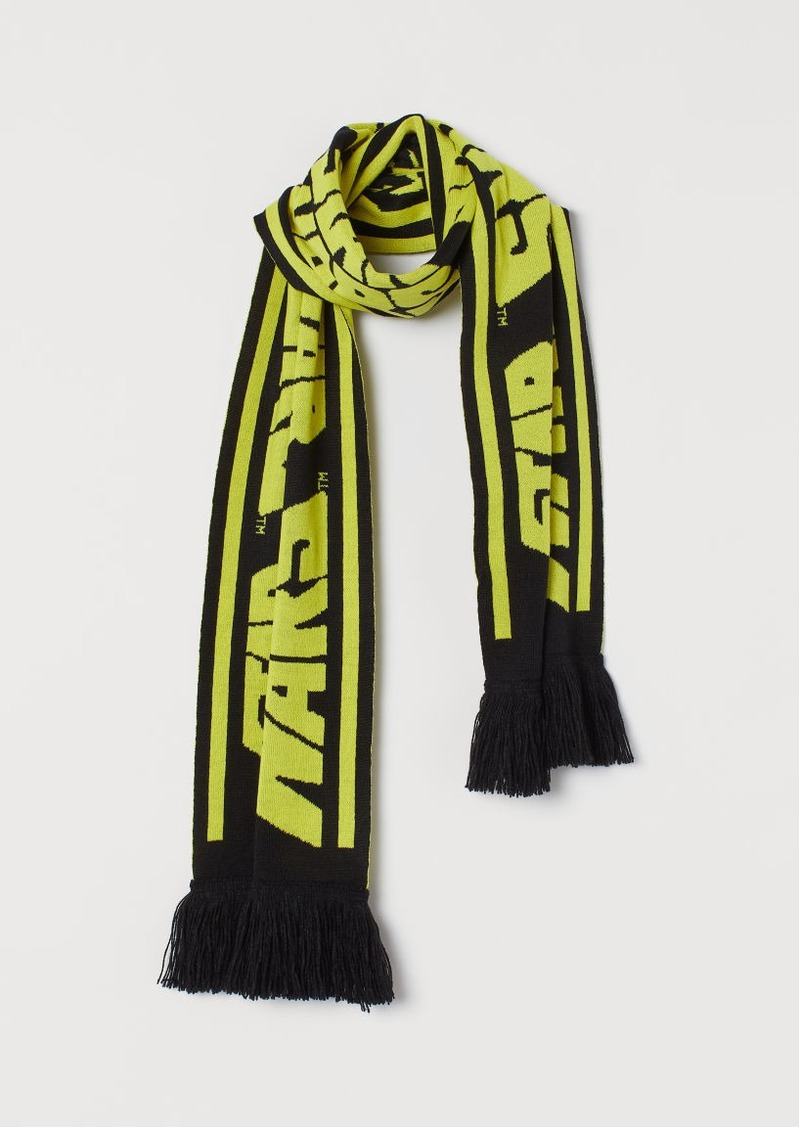 H&M H & M - Jacquard-knit Scarf - Black