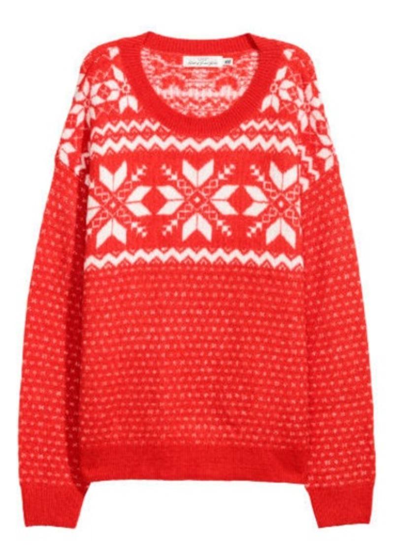 H M H   M - Jacquard-knit Sweater - Red  9f650885b
