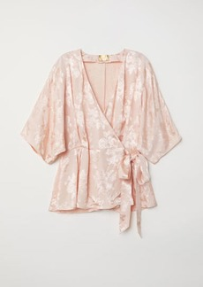 H&M H & M - Jacquard-weave Wrapover Blouse - Orange