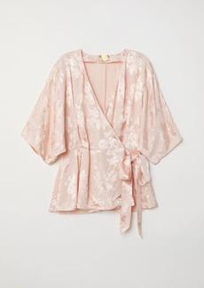 H&M H & M - Jacquard-weave Wrapover Blouse - Orange