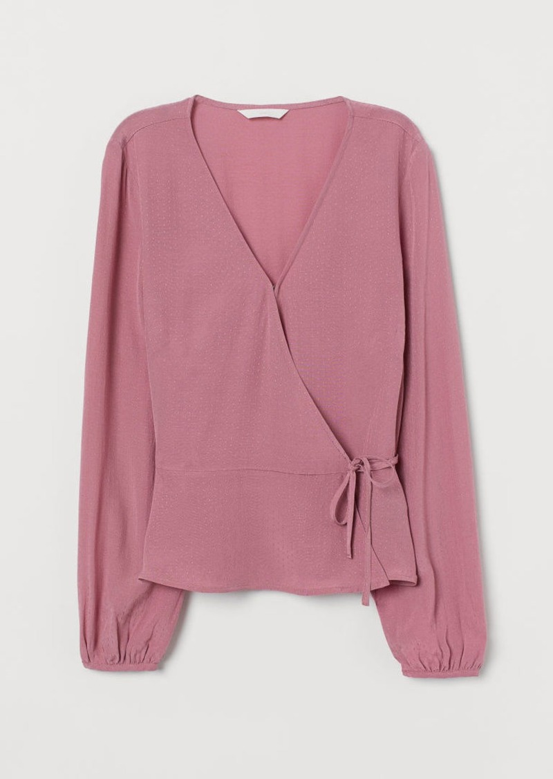 H&M H & M - Jacquard-weave Wrapover Blouse - Pink