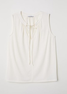 H&M H & M - Jersey Blouse with Tie - White
