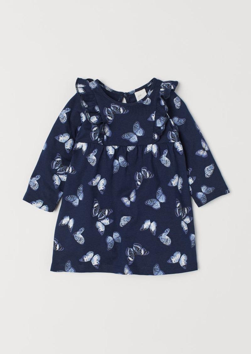 H&M H & M - Jersey Dress with Ruffles - Blue