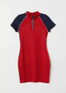 H&M H & M - Jersey Dress with Zip - Red