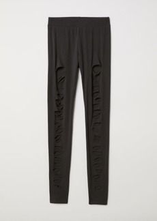H&M H & M - Jersey Leggings with Rips - Black
