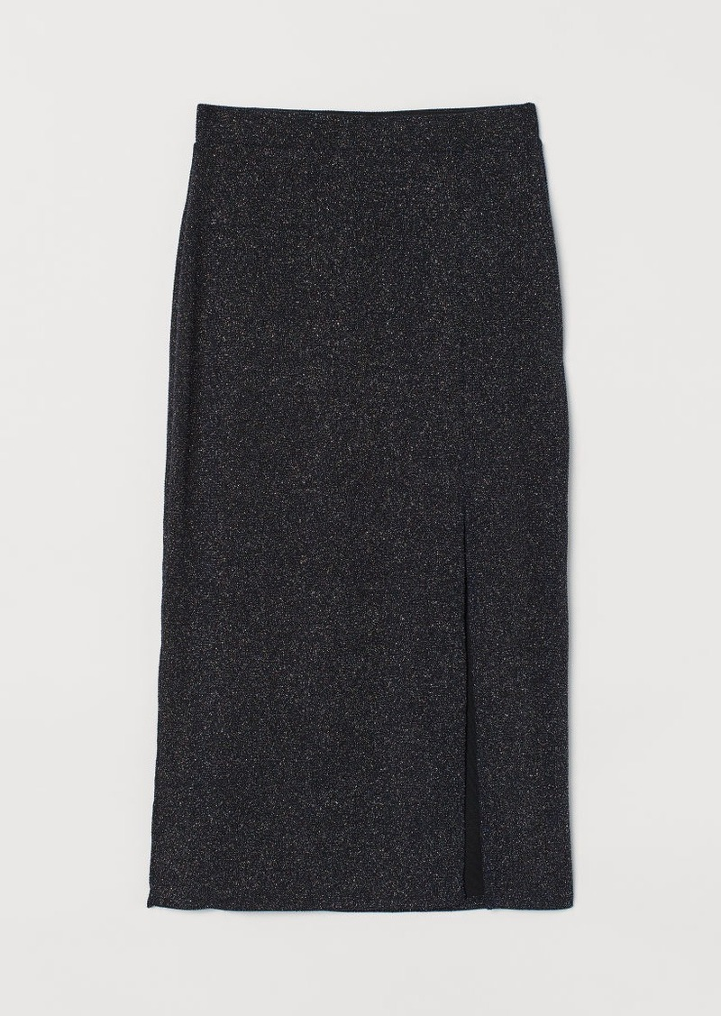 H&M H & M - Jersey Skirt with Slit - Black