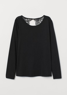 H&M H & M - Jersey Top with Lace - Black