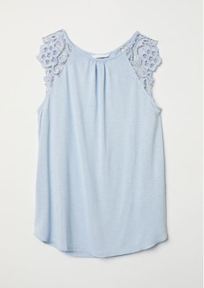H&M H & M - Jersey Top with Lace - Blue