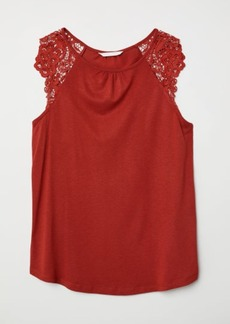 H&M H & M - Jersey Top with Lace - Orange