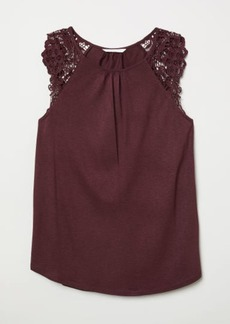H&M H & M - Jersey Top with Lace - Red