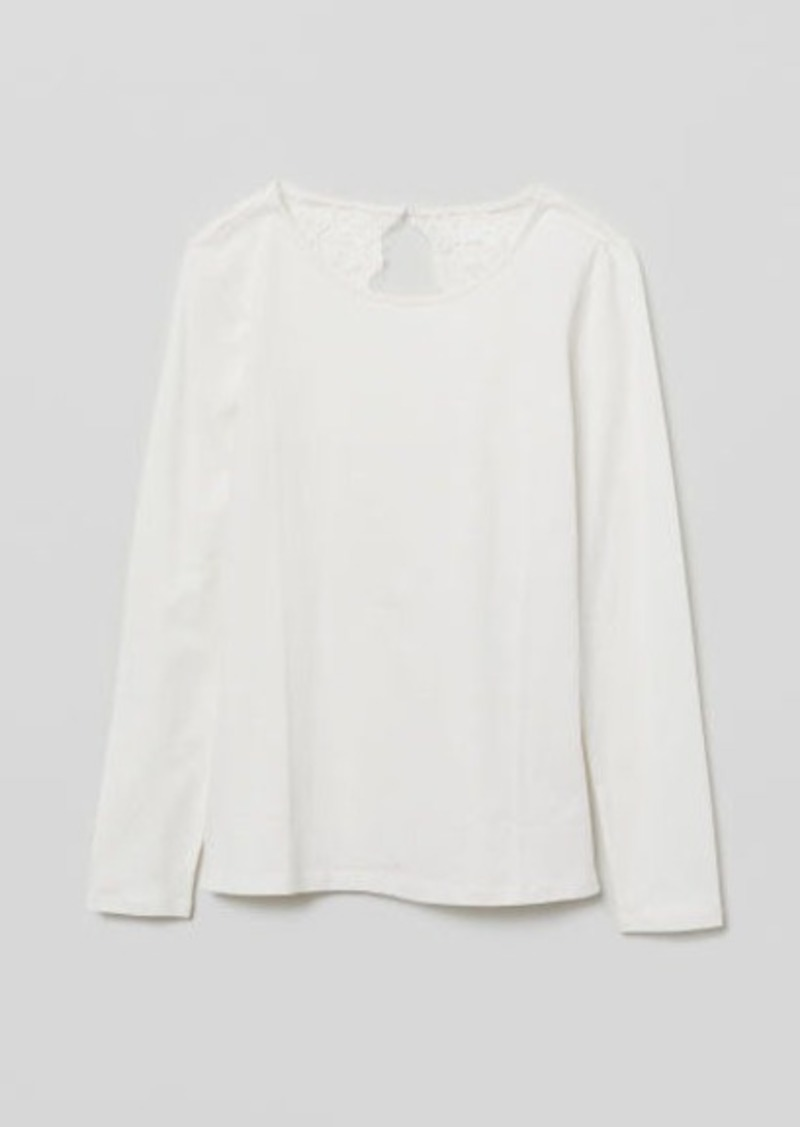 H&M H & M - Jersey Top with Lace - White