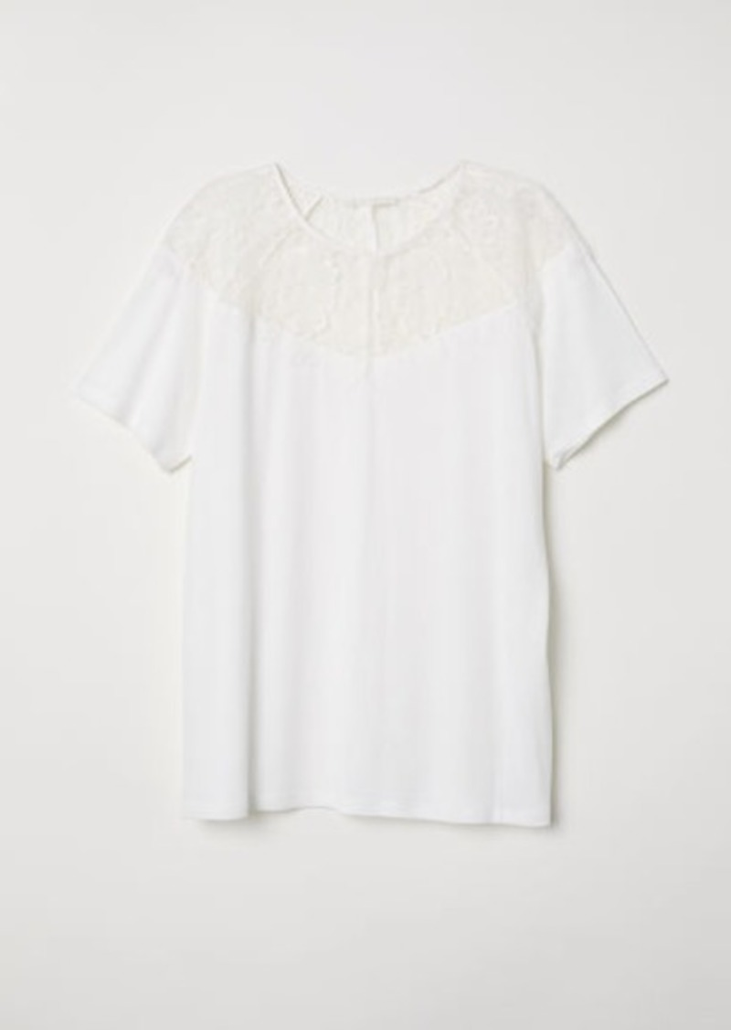 H&M H & M - Jersey Top with Lace Yoke - White