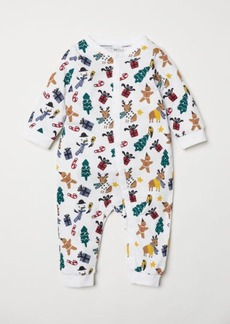 H&M H & M - Jumpsuit with Christmas Print - White