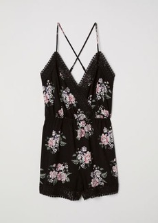 H&M H & M - Jumpsuit with Lace - Black