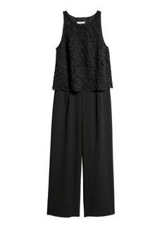 H&M H & M - Jumpsuit with Lace - Black