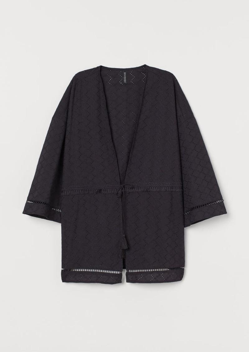 H&M H & M - Kimono with Lace Trim - Gray