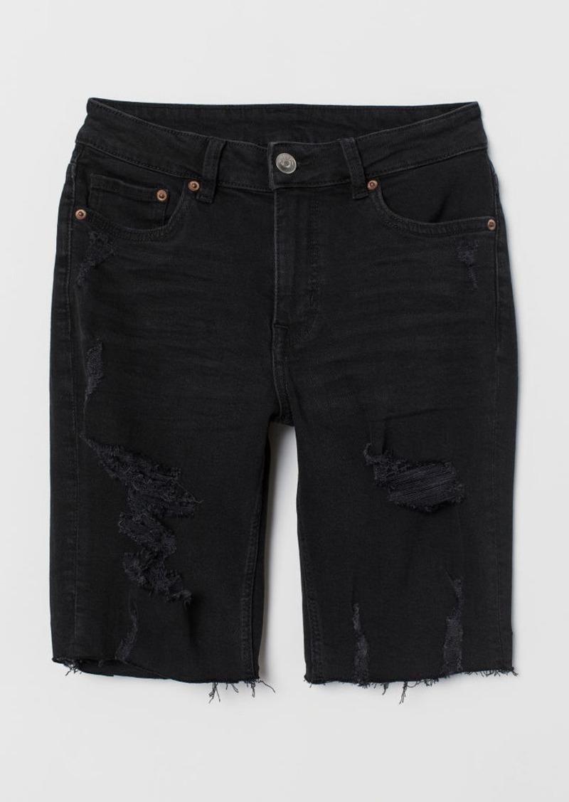 H&M H & M - Knee-length Denim Shorts - Black