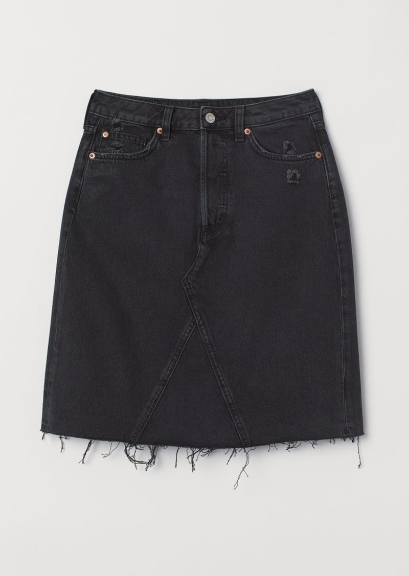 H&M H & M - Knee-length Denim Skirt - Black