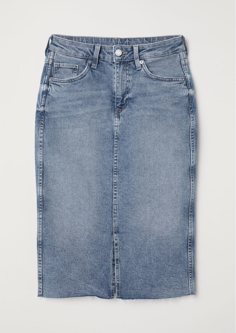 H&M H & M - Knee-length Denim Skirt - Blue