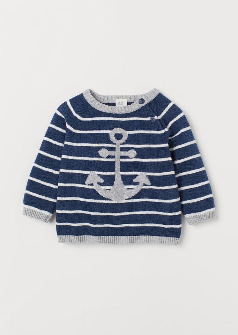 H&M H & M - Knit Cotton Sweater - Blue