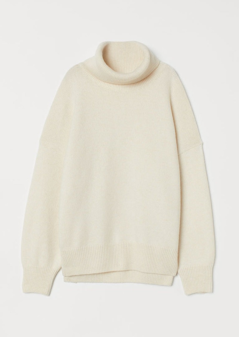 H&M H & M - Knit Cowl-neck Sweater - White