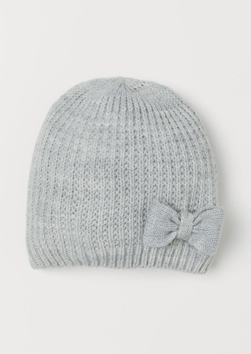 H&M H & M - Knit Hat with Bow - Gray