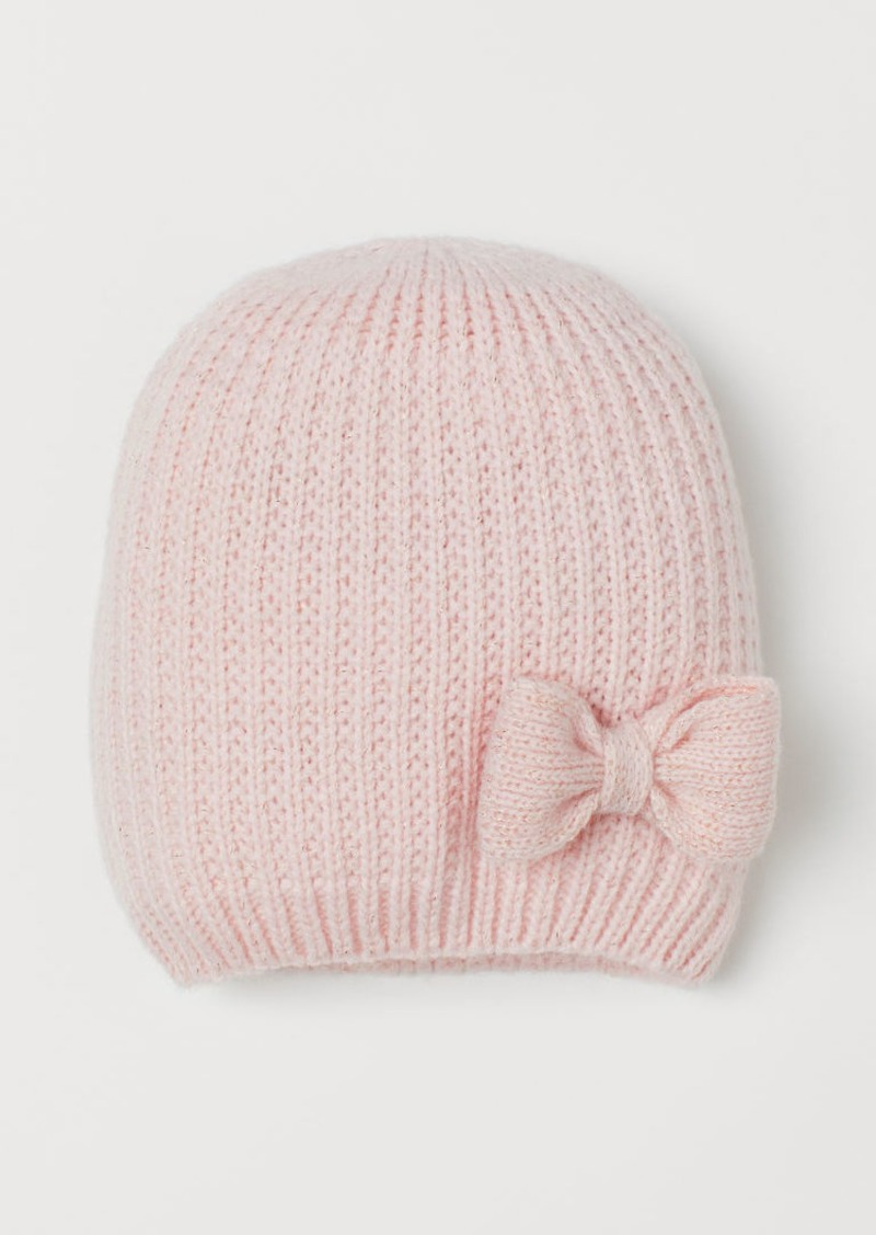 H&M H & M - Knit Hat with Bow - Pink