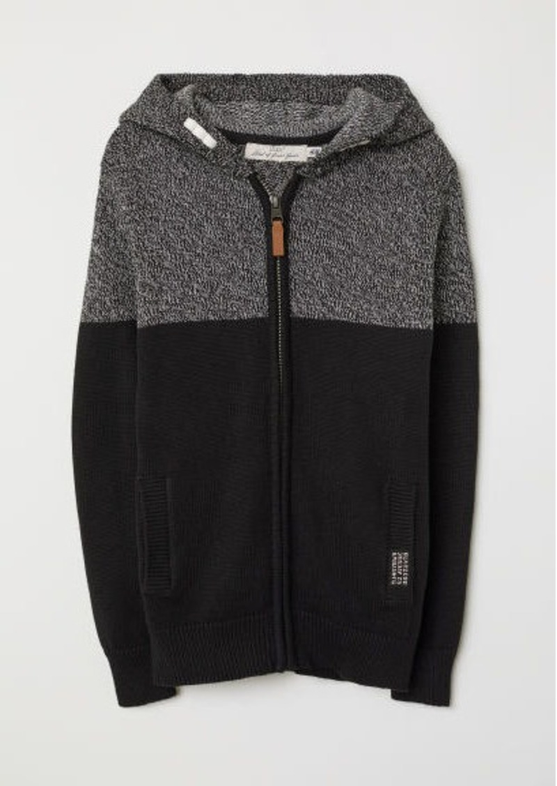 H&M H & M - Knit Hooded Jacket - Black
