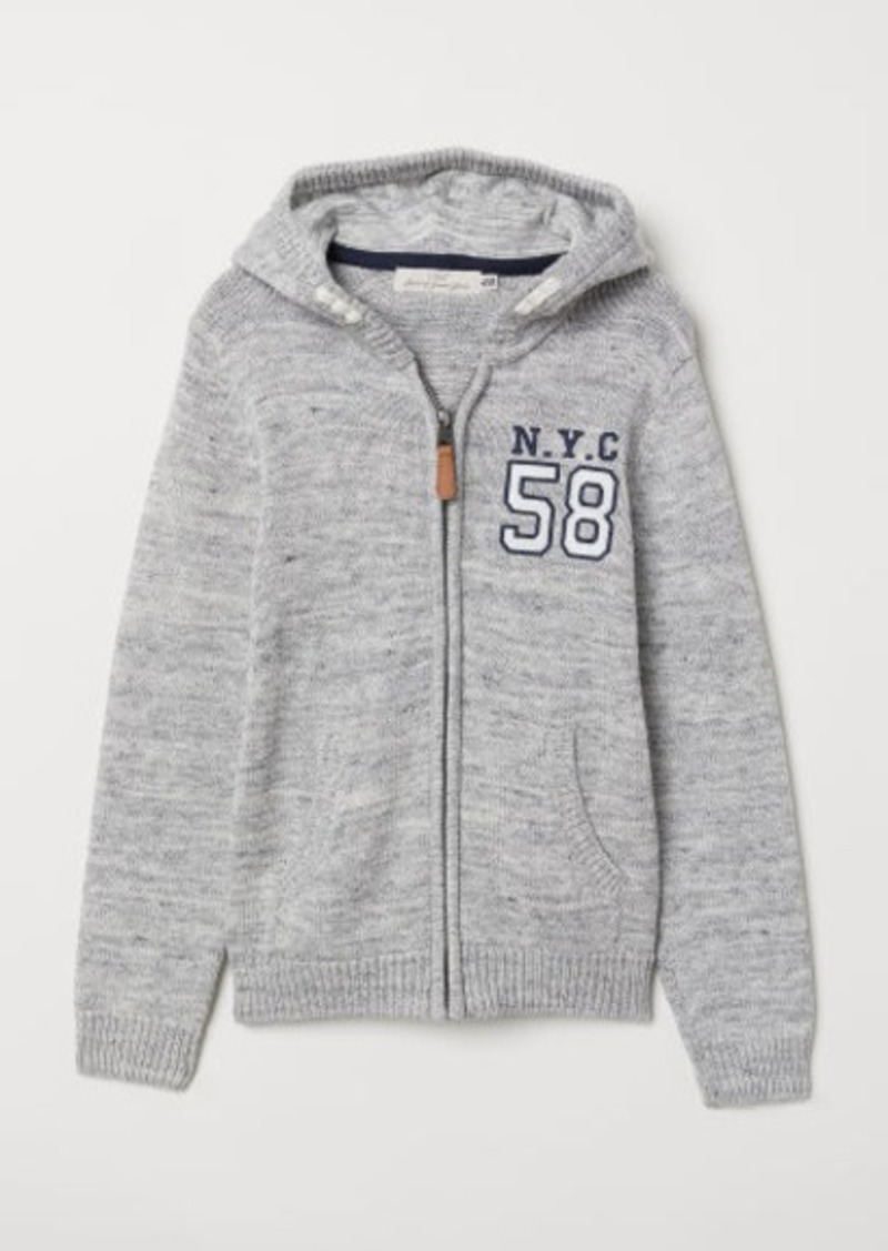 H&M H & M - Knit Hooded Jacket - Gray