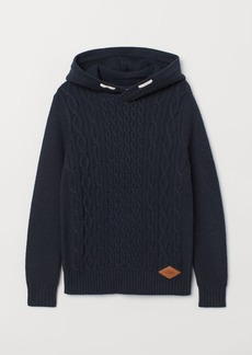 H&M H & M - Knit Hooded Sweater - Blue
