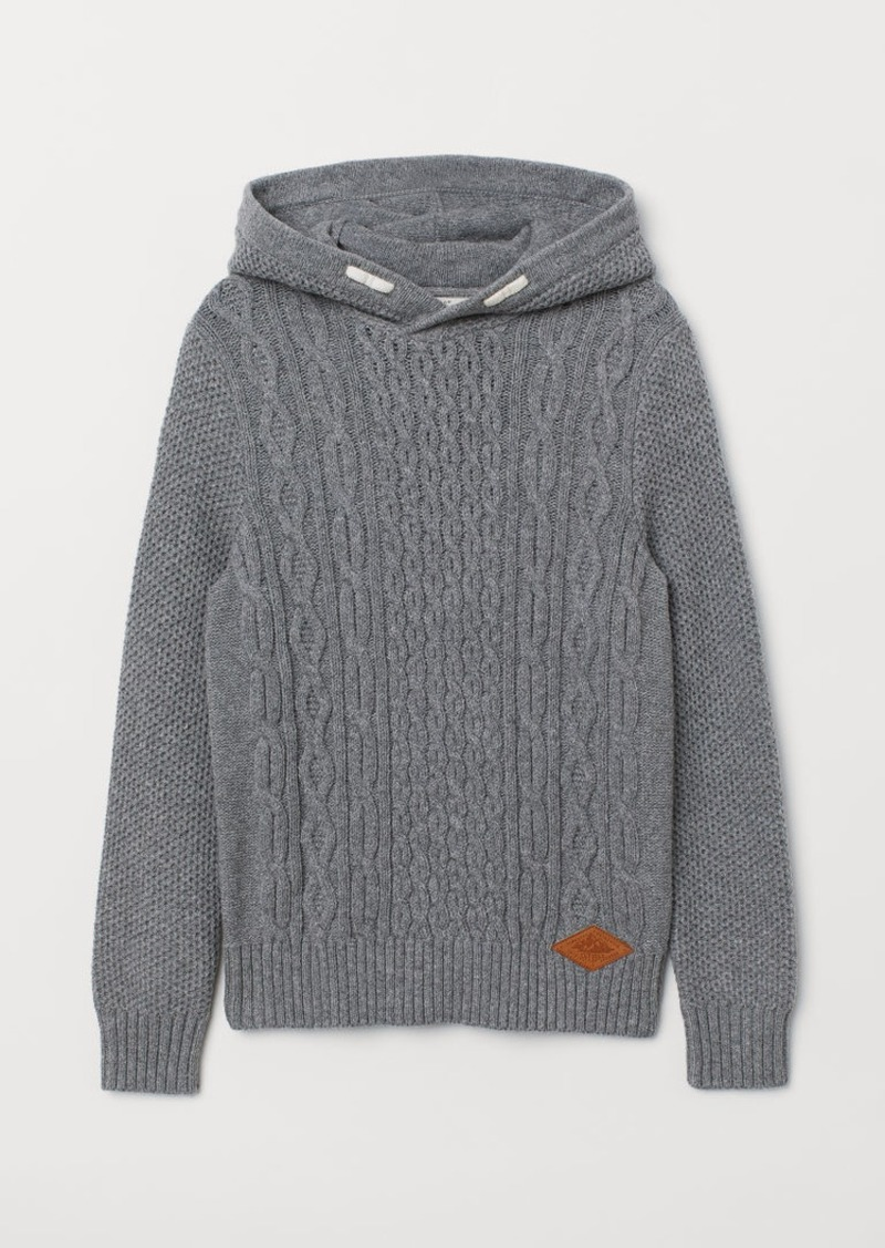 H&M H & M - Knit Hooded Sweater - Gray
