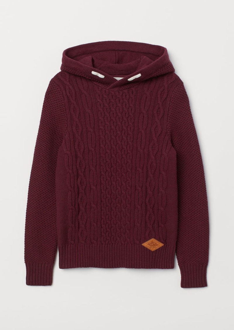 H&M H & M - Knit Hooded Sweater - Red
