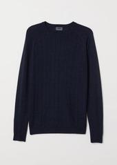 H&M H & M - Knit Merino-blend Sweater - Blue