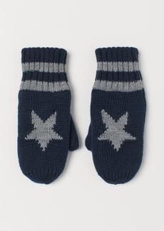H&M H & M - Knit Mittens - Blue
