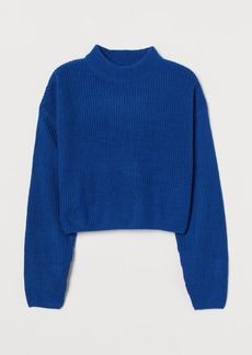H&M H & M - Knit Mock-turtleneck Sweater - Blue