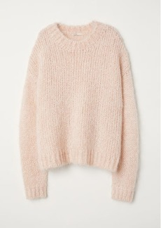 H&M H & M - Knit Mohair-blend Sweater - Orange