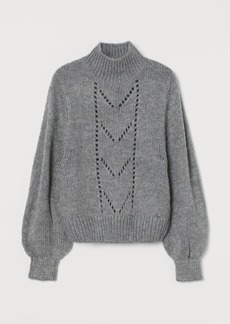 H&M H & M - Knit Pointelle-front Sweater - Gray