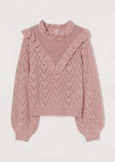 H&M H & M - Knit Ruffle-detail Sweater - Pink