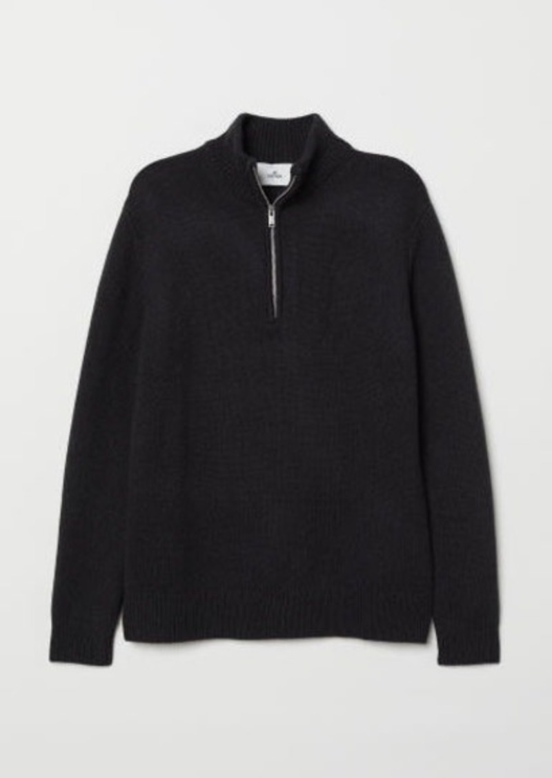 H&M H & M - Knit Sweater with Collar - Black
